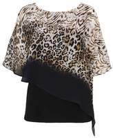 Wallis Petite Stone Animal Print Embellished Layered Top