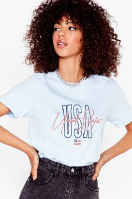 Nasty Gal Womens Party in the USA Relaxed Graphic Tee - Baby Blue