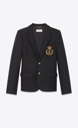 Saint Laurent Blazer Jacket Felt Blazer With Badge Black 10