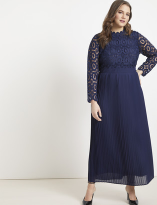 ELOQUII Lace Evening Dress with Pleated Skirt