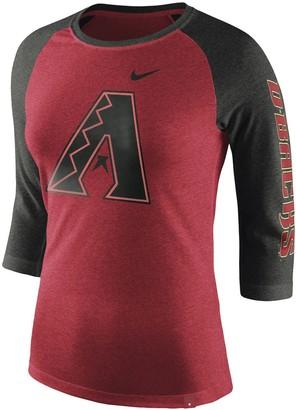 Nike Women's Heathered Red Arizona Diamondbacks Tri-Blend 3/4-Sleeve Raglan T-Shirt