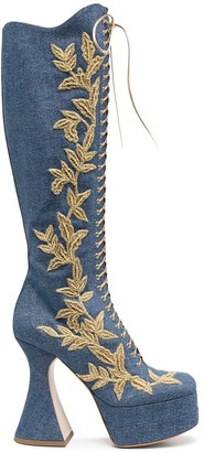 Moschino Leaf Embroidered High Denim Boots