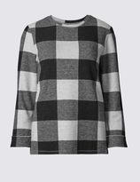 Marks and Spencer Brushed Checked Long Sleeve Sweatshirt