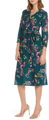 Brinker & Eliza Floral Faux Wrap Dress