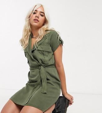 Noisy May Petite mini shirt dress in khaki