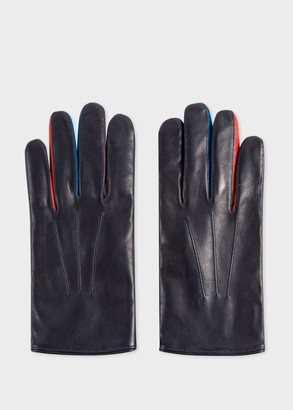 Paul Smith Men's Navy Lamb Leather Concertina Gloves With Red Piping