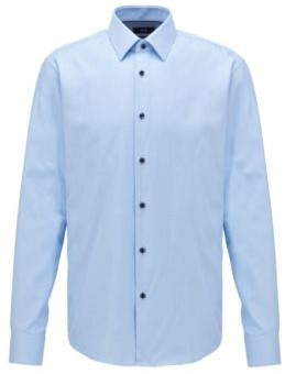 BOSS Regular-fit shirt in two-tone structured cotton