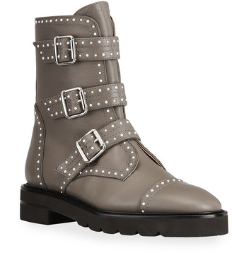 Stuart Weitzman Jesse Lift Studded Buckle Leather Boots