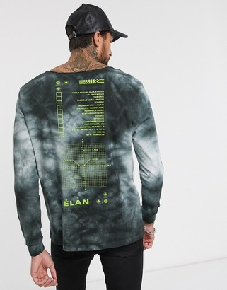 Asos Design DESIGN relaxed long sleeve t-shirt in tie die with back print and scoop neck-Grey