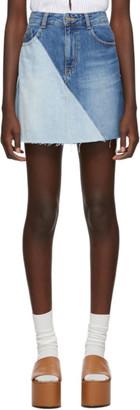 Sjyp Blue Denim Colorblocked Miniskirt