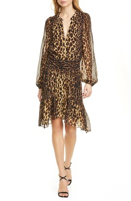 A.L.C. Sidney Leopard Print Long Sleeve Silk Dress