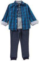 Nautica Little Boys 4-7 Plaid Woven Shirt, Knit Tee & Woven Jogger Pants Set