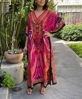 winlar Women's Maxi Dresses Pink/Fuchsia - Pink & Fuchsia Abstract V-Neck Caftan - Women