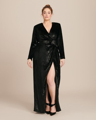 Brandon Maxwell Lurex Velvet Wrap Gown with Sleeves