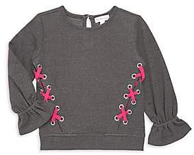 Design History Little Girl's & Girl's French Terry Lace-Up Top