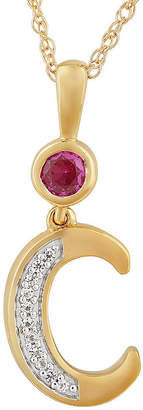 Fine Jewelry C Womens Lab Created Red Ruby 14K Gold Over Silver Pendant Necklace