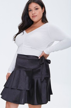 Forever 21 Plus Size Satin Ruffle Mini Skirt