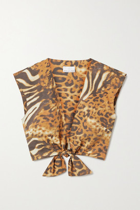 Miguelina Marcy Cropped Tie-front Animal-print Cotton-poplin Top - Orange
