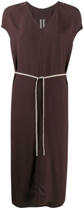 Rick Owens Ruched Short-Sleeved Midi Dress