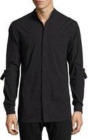 Helmut Lang Strap-Sleeve Cotton Shirt, Black