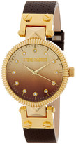Steve Madden Women&s Ombre Crystal Leather Strap Watch