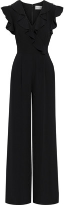 Mikael Aghal Ruffled Crepe De Chine Wide-leg Jumpsuit
