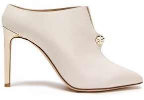 Lanvin Piercing Button-embellished Leather Mules