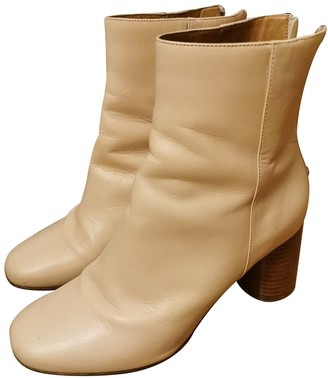 Sandro Beige Leather Ankle boots