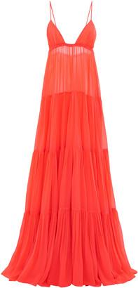 Valentino Tiered V-Neck Maxi Dress