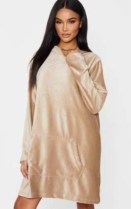 PrettyLittleThing White Soft Rib Oversized Long Sleeve Hoodie Jumper Dress
