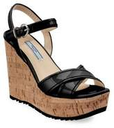 Prada Leather Platform Wedge Sandals