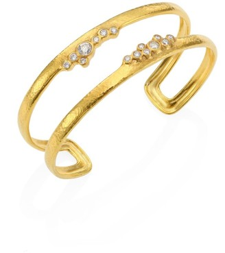 Gurhan Pointelle Diamond & 22K Yellow Gold Open Cuff