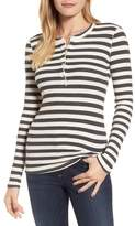 Stateside Women's Stripe Thermal Henley Tee