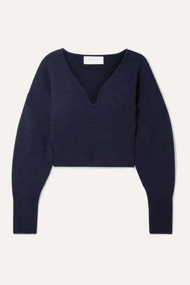 Esteban Cortazar Cropped Stretch-wool And Cashmere-blend Sweater - Navy