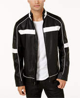 INC International Concepts Men's Colorblocked Faux Leather Racer Jacket, Created for Macy's