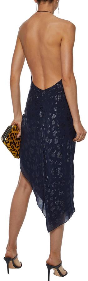 Thumbnail for your product : Cushnie Asymmetric Metallic Fil Coupe Chiffon Halterneck Dress