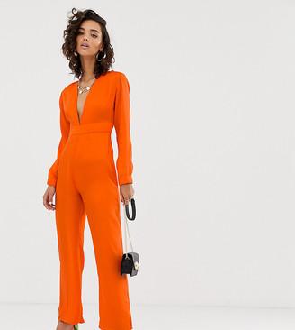 NA-KD Na Kd plunging print v jumpsuit in orange