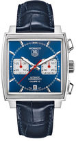 Tag Heuer Mens Monaco Alligator Strap Blue Dial Watch