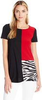 Star Vixen Women's Short Sleeve Ity Knit Tri Color Block Solid and Print Top