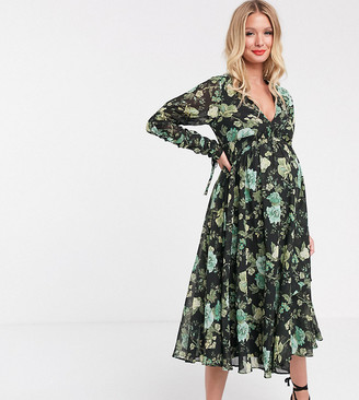 Asos DESIGN Maternity midi dress with stretchy smock waist in floral print