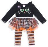 Little Lass Little Girl's Two-Piece Graphic Tulle Dress and Printed Leggings Set