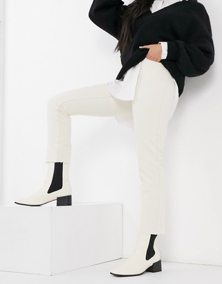 Object Tora high waist straight leg jeans in white