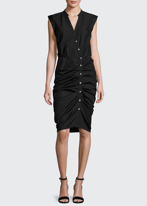 Veronica Beard Sleeveless Ruched Poplin Shirtdress