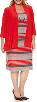 R & M Richards 3/4 Sleeve Knit Jacket Dress with Necklace-Plus