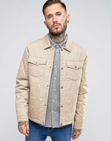 Asos Quilted Cotton Jacket In Stone