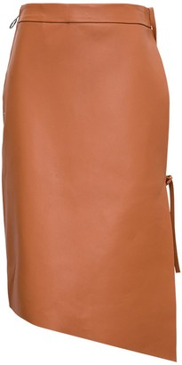 Off-White Flared Skirt in Brown Leather