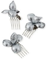 Gigi Burris Alchemia Floral Hair Combs, Silver, Boxed Set of Three