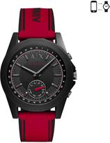Armani Exchange red IP silicone strap hybrid mens watch