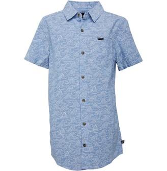 Animal Womens Junior Short Sleeve Shirt Blue Chambray