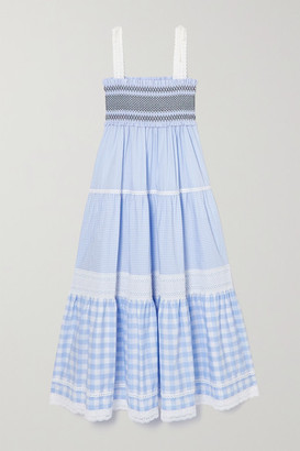Miu Miu Broderie Anglaise-trimmed Shirred Gingham Cotton Maxi Dress - Blue